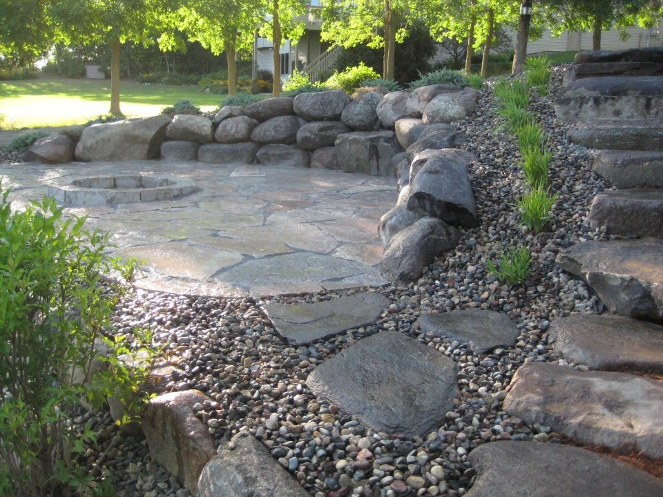Patio, FIre Pit, Stairs and Ground Treatments